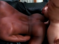 Muscle black hunk slams ass of a white dude