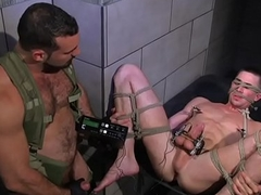 Tiedup cbt bottom gets electro play from hunk