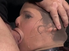 Busty bonded sub used for throating maledoms