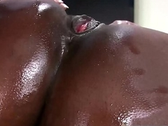 Big Booty Oiled Up Ebony Gets BBC Big Black Cock