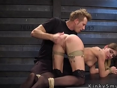 Blonde gets fucked as slave training