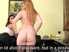 Huge tits redhead has threesome casting