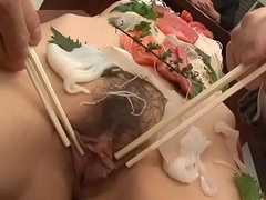 Sushi girl is the main course of the office gangbang