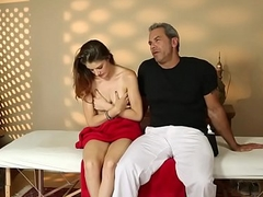 Hairy sweetie fucked on the massage table