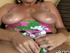 Obscene session by a babe with melons