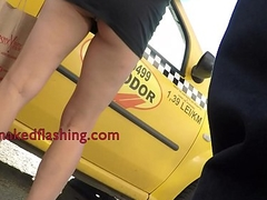 Milf wearing mini skirt show upskirt upside taxi