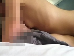 Fondling  and squeezing small tits with hairy slit penetration and blow job
