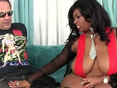 Big boobed black girl Ms Mirage loves big white cock