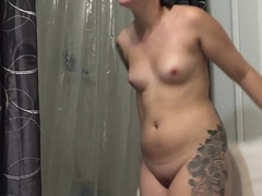 Tattooed Roommate Caught Naked Out Of The Shower On Bathroom Spycam