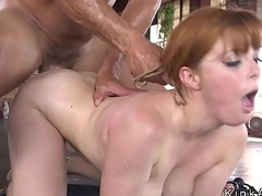 Busty slave anal hooked and fucked