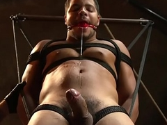 Tiedup BDSM sub gags while getting flogged