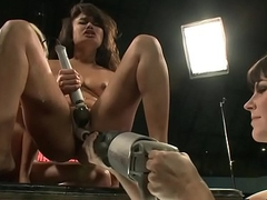 Machine loving lesbians enjoying foursome