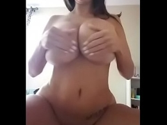 Super big boobs milf giving lotion in front of camera