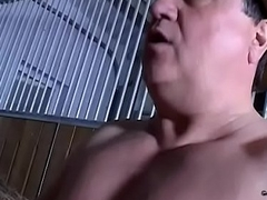 Young brunette wife cheating with her thick-dick father-in-law in a barn