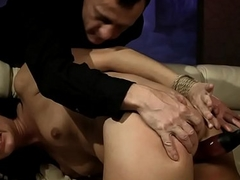 Submissive sluts ass gets dildoed in threeway