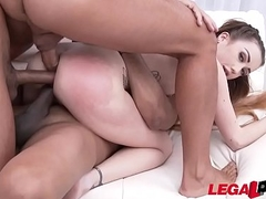 Tiny slut Jessi Empera takes 3 HUGE cocks in her Tiny elastic Asshole