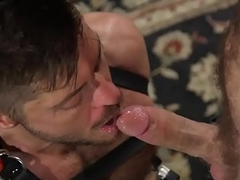 Flogged BDSM submissive deepthroating dick