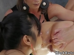 Busty mistress anal toys blonde in threesome