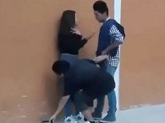Thresome teen having sex in front of public caught