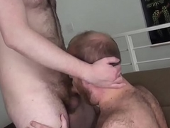 Chubby red bear cumswallows after bare fuck