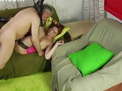 Horny redhead girl licks old mans ass and gets fucked