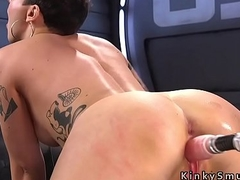 Hairy babe spreads for fucking machine